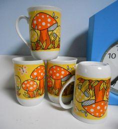 4 magic mushroom cups 60s japan by gracenapoleon on Etsy, $20,00
