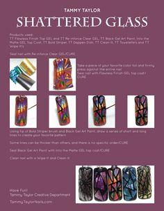 "♥ Tammy Taylor ""Shattered Glass"" Nail Design Step by Step - Hair Design Trend Different Nail Designs, Cool Nail Designs, Gel Nail Art, Nail Art Diy, Nail Polish, Nail Place, Tammy Taylor Nails, Nail Art Techniques, Diy Manicure"