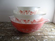 Pink Pyrex Bowls Pink Gooseberry Pyrex by VintageShoppingSpree, $78.00