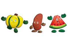 @lzxpress, a leading source of health, nutrition and life skills education resources, approached Fuzzy Duck to help develop a new concept for fruit and vegetable character illustrations based on existing beanie babies. These are illustrations of squash, sweet potato, and watermelon.