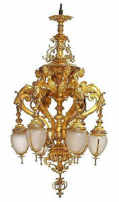 A large French gilt bronze chandelier. Late 19th century.