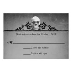 Skull Frame Halloween Wedding Reply RSVP Personalized Invitations question added: Are you dressing in a costume? yes or no