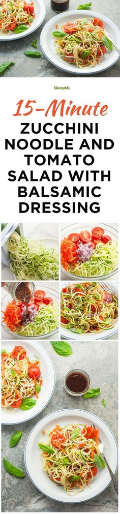 15-Minute Zucchini Noodle Tomato Salad with Balsamic Dressing - In just 15 minutes, you could have a scrumptious lunch, dinner or side that is gluten-free, low-calorie (47 calories per serving!), and chocked full of delicious veggie goodness. #15minute #recipe #healthysalads #skinnyms #healthy