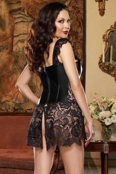 Plus Size Leather and Lace Corset