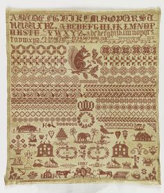 Sampler with red embroidery on a natural linen ground in three sections. The upper register has rows of alphabets. The middle register contains rows of geometric pattern bands, with a large squirrel in the center. The lower register contains spot motifs, including houses, vases and baskets of flowers, crosses, an anchor, bible, teapot, key, heart, ship, and animals, including an elephant between two palm trees.