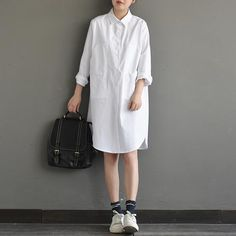 white cotton dress boyfriend shirt