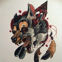 #traditional #tattoo #wolf
