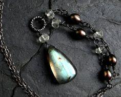 Labradorite Necklace Prasiolite Pearl Oxidized by CircesHouse