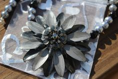 Black & Silver Glass Pearl Daisy Metal Necklace by KNAaccessories