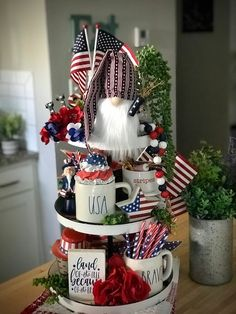 4th Of July Party, Fourth Of July, 4th Of July Wreath, Holiday Crafts, Holiday Ideas, July Crafts, Holiday Decor, Gnome 4, Raffle Baskets