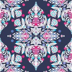 Pastel Folk Art Pattern in soft navy, pink, mauve & white Art Print by micklyn | Society6