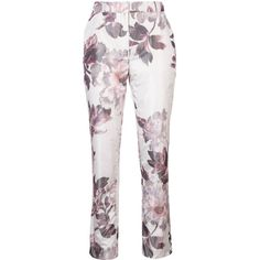 Brock Collection floral print cigarette trousers ($1,265) ❤ liked on Polyvore featuring pants, white, floral trousers, white floral pants, white trousers, floral pants and cigarette trousers