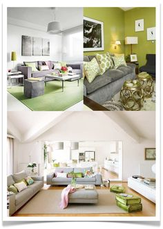 Pale greens will be better enhanced by warm neutrals,  which flatter by intensifying green and making them appear fuller.  Cool greys require more vivid greens that have enough strength for a rich and balanced palette.