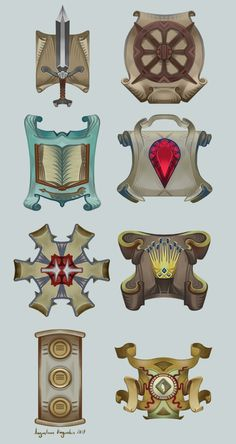 Here are a few crests I designed and illustrated for Cloak & Coin Roleplaying game for Red Turban Press. They will be used as symbols representing the bankers, weapon makers, merchants and so o...