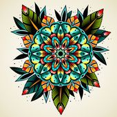 Old school tattoo flower — Stock Vector #94453818