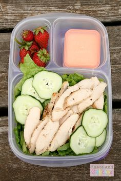And for me, a grilled chicken Caesar salad. The lettuce, cucumbers, and strawberries all came from my garden.