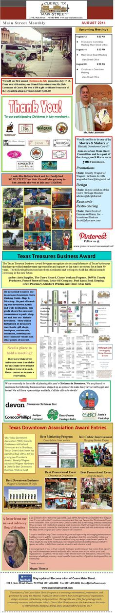 Stay updated on all things Cuero Main Street. Check out this month's newsletter!