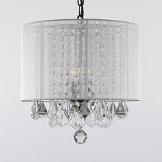 Gallery 3-light Crystal Chandelier with Shade. ◾Includes: 18 inches of chain/wire ◾Dimensions: 15 inches wide x 15 inches long  $113.99
