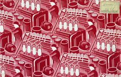'Red Spinner', fabric design depicting cotton mill workers, by Andrey Golubev, 1930. A perfect example of how images of heavy industry and machinery found its way into the homes of ordinary Soviet home. See it in 'Revolution: Russian Art 1917-1932' at the Royal Academy.