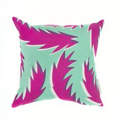 Feather Cushion - Pink and Turquoise   Cushion panels for these dual sided cushions are hand screen printed on to cotton using environmentally friendly inks in the Sunny Todd Prints Herefordshire studio; each cushion is then perfectly hand made by a local seamstress with concealed invisible zip and hand printed signature label. Cushions come complete with a cotton covered, British made luxury white duck feather pad.
