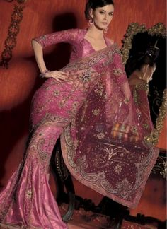 Pink saree with beautiful detail.