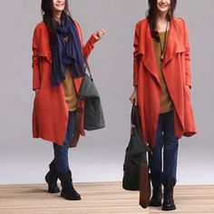 blue and orange  knitting cardigan maxi plus size blouse  by Aolo, $83.00
