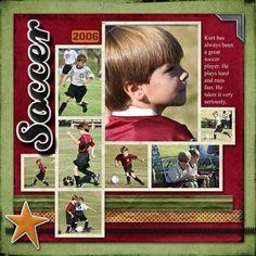 Sports Scrapbook Page | Scrapbooking Sports | 12X12 Page | Scrapbooking Ideas | Soccer | Creative Scrapbooker Magazine #soccer #sports #scrapbooking