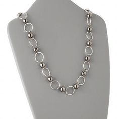 Necklace, acrylic and imitation rhodium with organza ribbon, silver/black, 12mm rounds, 28-36 inches. Sold individually.