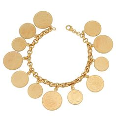 Fremada 18k Gold Over Sterling Silver Euro Coins Charm Bracelet (470 ILS) ❤ liked on Polyvore featuring jewelry, bracelets, accessories, jewels, gold jewelry, 18k gold jewelry, coin jewelry, yellow gold jewelry and sterling silver bangles