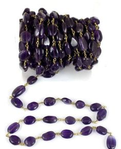 10 Feet Natural Amethyst Smooth Oval Rosary Beaded chain 10x7mm 24k Gold Plated