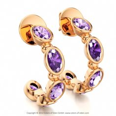 Hoop Earrings with Amethyst in 18k Rose Gold #rose #gold