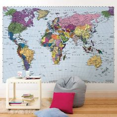 Maps make timeless and sophisticated décor accents. This giant World map is colorful, educational, and stylish. This wall mural is 8-Foot 10-Inch by 6-Foot 2-Inch and comes in 4 easy to install panels
