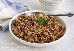 Crock Pot Brown Rice and Lentils | CrockPot Weight Watchers Recipes #WeightWatchers #Crockpot