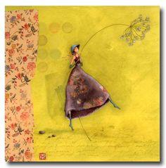 CARTES D'ART > BOISSONNARD Gaëlle > CARTES SIMPLES 14x14cm > BOISSONNARD La fille au chapeau bleu - e-mages - La carterie d art