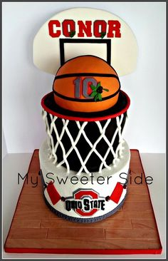 The bottom tier is covered in buttercream with fondant decorations.  The top tier and basketball are covered in fondant. sports party food