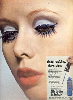 Vintage Max Faxtor make up advertisement, Peel Off Eye Liner!