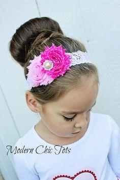 Pink Valentine's Day Shabby Headband
