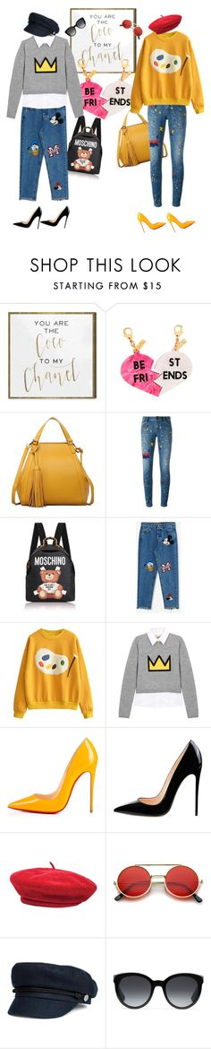 """""""BFF"""" by gazizova-daria ❤ liked on Polyvore featuring Oliver Gal Artist Co., Edie Parker, Alice + Olivia, Moschino, Pull&Bear, Christian Louboutin, Brixton, ZeroUV and Gucci"""