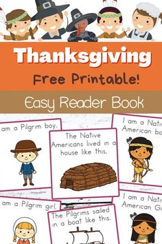 Kids can learn to read with Pilgrims and Native Americans this Thanksgiving with this easy reader book. All you have to do is choose which version you want to use, print, assemble, and watch your child enjoy reading. You can choose to print out the black and white coloring page version or the full color version to just focus on reading. The book uses repetitive words and picture clues for beginning readers. Thanksgiving Activities For Kids, Fun Activities For Kids, Preschool Ideas, Teaching Ideas, Tot School, Public School, Writing Comprehension, Easy Reader, Pilgrims