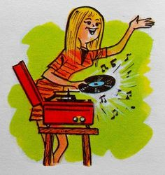Girl with record player.