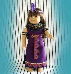 Egyptian Queen Doll Costume - 18 inch American Girl Doll Fantasy Costume Purple-Black-Gold-Turquoise Fantasy Ensemble