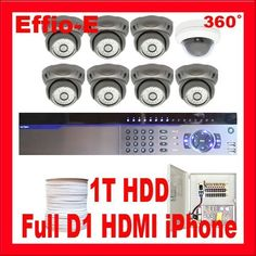 """Complete Professional 8 Channel Full D1 H.264 DVR, with 1 x 1/3"""" SONY Super HAD II CCD Double Scan 360° Wide Angle Indoor Dome Camera, 700 TV lines and 7 x 1/3"""" Effio CCD Camera, Waterproof Outdoor or Indoor. 700 TV lines, 3.6mm lens CCTV Surveillance Video Camera System Package . $1459.00. Package Includes: G-3008 DVR with 1T HDD Remote Control and mouse 1 x G-360VH - 1/3"""" SONY Super HAD II CCD 360° Indoor Dome Camera 7 x G-737G - 1/3"""" Effio CCD Camera 1 x G-500RG..."""