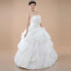 Ball Gown Strapless Satin And Organza With Floral And Bowknot Wedding Dress [TOQ120323002] - $54.59 : wedding fashion, wedding dress, bridal dresses, wedding shoes