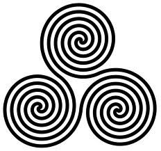 """The triskele, or triple spiral, a symbol closely related to the triquetra, is a tripartite symbol composed of three interlocked spirals. The triple spiral is an ancient Celtic symbol related to the sun, afterlife and reincarnation. The example above comes from the Neolithic """"tomb"""" at Newgrange"""