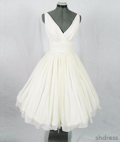 White v neck chiffon short prom dress, homecoming dress, white bridesmaid dress