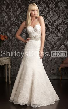 Elegant Soft-ruched Slim-line Sweetheart Lace Applique and Satin Wedding Gown