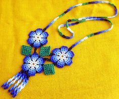 Mexican Huichol Beaded Flower Necklace #mexican #huichol