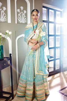The Summer Bride by Anita Dongre | blue gota patti lehenga | 2015 new collection | thedelhibride Indian weddings blog