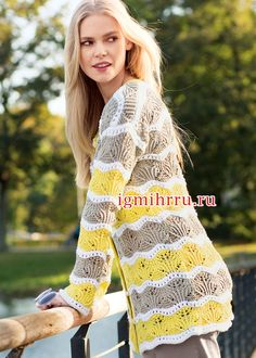 Cardigan with wavy openwork pattern Long Cardigan, Knit Cardigan, Knitting Patterns, Crochet Patterns, Summer Tops, Arm Warmers, Mantel, Knit Crochet, Pullover