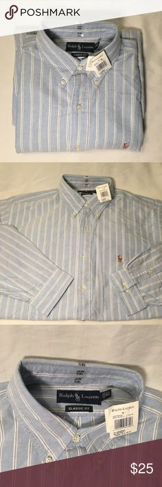 Polo by Ralph Lauren Button Down Shirt NWT Baby blue with white stripes classic fit long sleeve button down dress shirt from Polo by Ralph Lauren.  Size 16 1/2 x 36/37           All products* sold by super22saver55 are pre-washed using Tide Pods, Downy Unstoppables, and Oxygen Orange for your convenience.  *Not including NWT products, products made of wool or sports wear.  *Sports wear products are washed with detergent and vinegar or baking soda. Polo by Ralph Lauren Shirts Dress Shirts